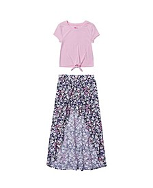 Big Girls Short Sleeve Top with Floral Walkthrough Set