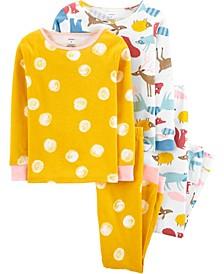 Little Girls Animals Snug Fit Pajamas, 4 Piece