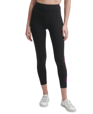 Calvin Klein Performance Logo High-waist Cropped Leggings In Confetti Foil