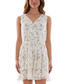 Juniors' Floral-Print Flounce Fit & Flare Dress