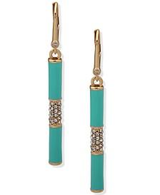 Gold-Tone Turquoise-Color & Pavé Linear Drop Earrings
