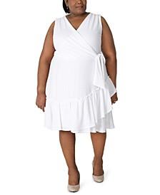 Plus Size Stretch-Eyelet Ruffled Midi Dress