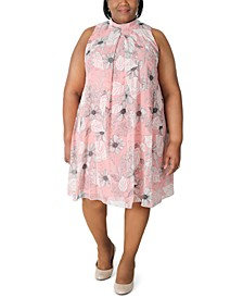 Plus Size Mock-Neck Trapeze Dress