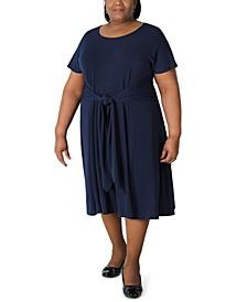 Plus Size Tie-Front Jersey Midi Dress
