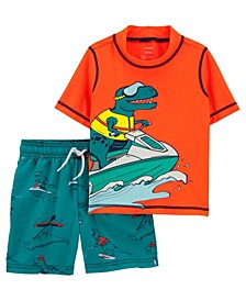 Toddler Boys Dino Rashguard Set, 2 Piece