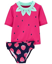Toddler Girls Strawberry Rashguard Set, 2 Piece