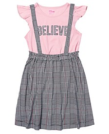 Big Girls Short Sleeve Tee and Pinnafore Dress Set