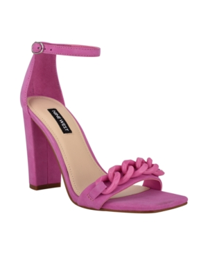Nine West Women's Mindful Chain Detail Sky High Dress Sandals Women's Shoes In Neon Pink Suede