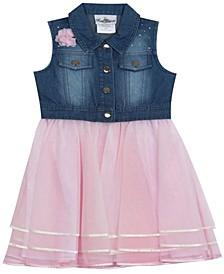 Toddler Girls Ribbon Mesh Dress with Denim top, Set of 2