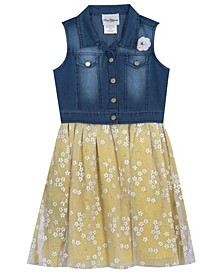 Big Girls Denim Vest Dress with Mesh Daisies Skirt, Set of 2