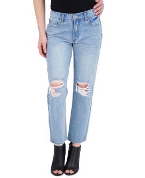 Juniors' Straight-Leg Ripped Jeans