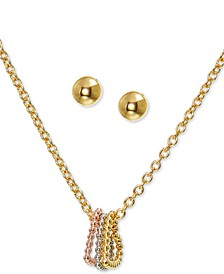"Gold-Tone Stud Earrings & Tri-Tone Heart Pendant Necklace Set, 17"" + 2"" extender, Created for Macy's"