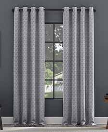 Textured Geometric Recycled Fiber Semi-Sheer Grommet Curtain Panel Collection
