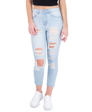 Juniors' Ripped Cropped Skinny Jeans