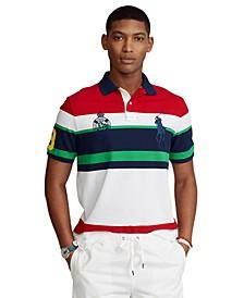 Men's Custom Slim Fit Striped Mesh Polo Shirt