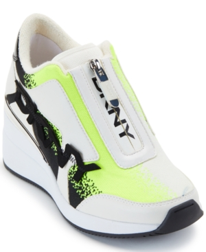 Dkny Parlan Zip-up Wedge Sneakers In Neon Yellow/blk