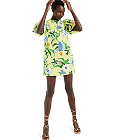 INC Puff-Sleeve Printed Mini Dress, Created for Macy's