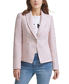 Tweed Faux Pearl One-Button Blazer