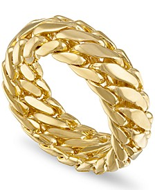 Woven Curb Link Ring in 18k Gold-Plated Sterling Silver, Created for Macy's (Also Available in Sterling Silver)