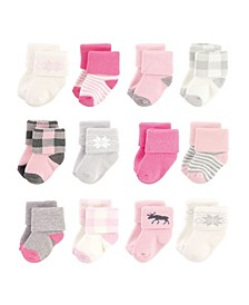 Baby Girls Cotton Rich Newborn and Terry Socks, 12 Pack