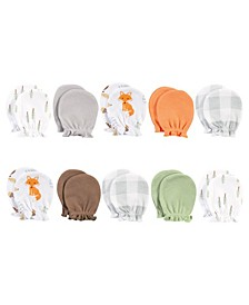 Baby Girls and Boys Cotton Scratch Mittens, 10 Pack