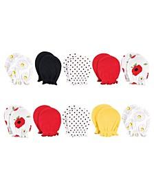 Baby Girls Cotton Scratch Mittens, 10 Pack