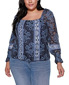 Black Label Plus Size Mixed Lace Puff Sleeve Top