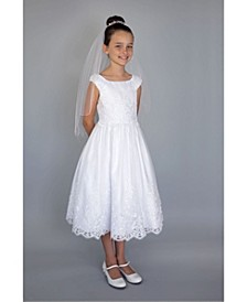 Big Girls Cap Sleeve Embroidered Communion Dress
