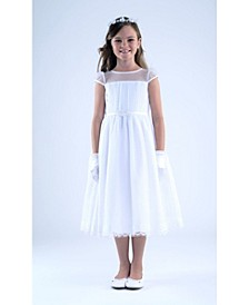Big Girls Cap Sleeve Point D' Esprit Communion Dress