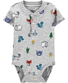 Baby Boy Animals Cotton Bodysuit