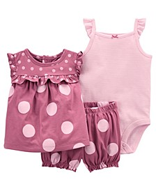 Baby Girls Polka Dot Little Short Set, 3 Pieces