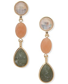 Gold-Tone Crystal, Stone & Mother-of-Pearl Clip-On Linear Drop Earrings