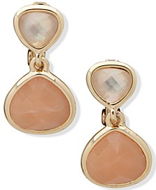 Gold-Tone Stone & Mother-of-Pearl Clip-On Drop Earrings