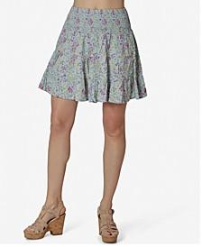Juniors' Floral-Print Smocked Skirt