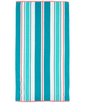 Awning Stripe Velour Beach Towel, Created for Macy's