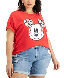 Trendy Plus Size Floral Mickey Mouse-Graphic T-Shirt