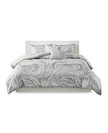 Rebecca Full/Queen Metallic Printed Comforter, Set of 5