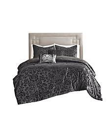 Irene Full/Queen Faux Velvet Comforter, Set of 5
