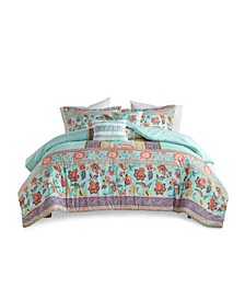 Ophelia Full/Queen Boho Printed Comforter, Set of 5