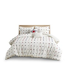 Callie Full/Queen Cotton Jacquard Pom Pom Comforter, Set of 5
