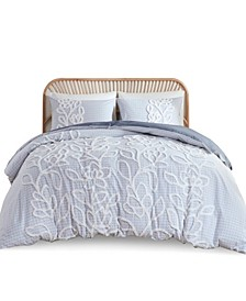 Aitana King/California King Tufted Cotton Chenille Duvet Cover, Set of 3