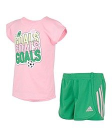 Toddler Girls Graphic T-shirt and Short Set, 2 Piece