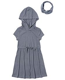 Toddler Girls Waist Tie Hooded Dress with Match Back Headband