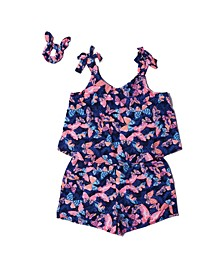 Big Girls All Over Print Challis Romper with Scrunchie