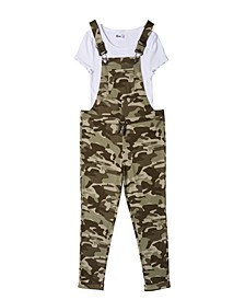 Big Girls Knit Overall with Knit Tee Set, 2 Pieces