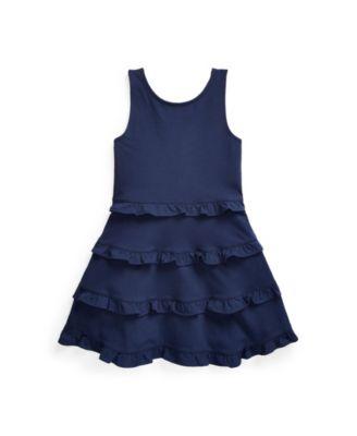 폴로 랄프로렌 Polo Ralph Lauren Toddler Girls Ruffled Jersey Dress,French Navy