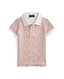 Toddler Girls Floral Stretch Mesh Polo