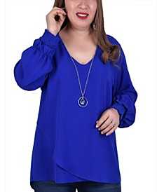 Plus Size Long Sleeve Overlapping Crepe Top with Necklace