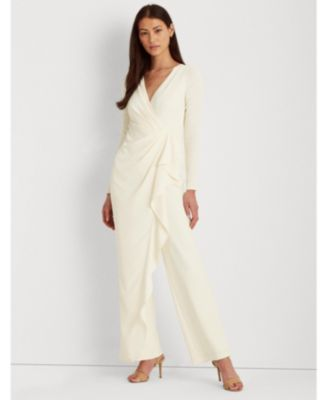 로렌 랄프로렌 Lauren Ralph Lauren Ruffle-Trim Georgette Jumpsuit,Cream