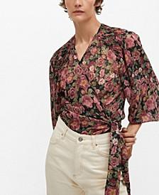 Women's Wrap Floral Blouse
